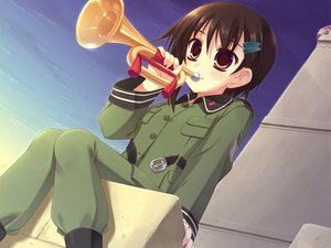 Rating: Safe Score: 3 Tags: brown_eyes brown_hair instrument moriguchi_yuu short_hair sora_no_woto sorami_kanata uniform User: HawthorneKitty