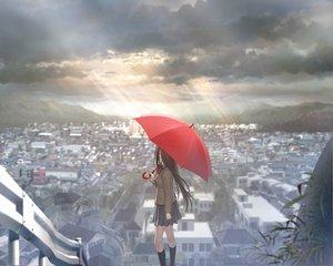 Rating: Safe Score: 394 Tags: aozaki_aoko building city clouds game_cg koyama_hirokazu long_hair mahou_tsukai_no_yoru scenic school_uniform sky umbrella User: Wiresetc