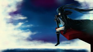Rating: Safe Score: 105 Tags: black_hair black_rock_shooter blue_eyes boots clouds kuroi_mato shorts sky twintails User: STORM