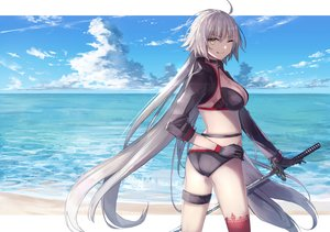Rating: Safe Score: 54 Tags: aliasing beach bikini breasts cleavage clouds fate/grand_order fate_(series) jeanne_d'arc_alter jeanne_d'arc_(fate) katana long_hair sky swimsuit sword thkani water weapon wink User: BattlequeenYume