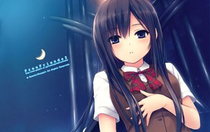 Rating: Safe Score: 224 Tags: black_hair blue_eyes coffee-kizoku free_friends long_hair moon night seifuku shinozaki_sumire sky stars User: Wiresetc