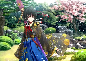 Rating: Safe Score: 95 Tags: black_hair brown_eyes cherry_blossoms flowers japanese_clothes kouji_(astral_reverie) original petals ribbons short_hair tree User: RyuZU