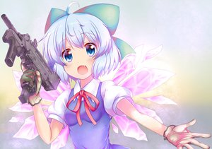 Rating: Safe Score: 145 Tags: aliasing blue_eyes blue_hair cirno em_s fairy gloves gun touhou weapon wings User: Dust