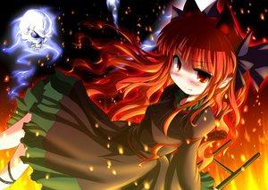 Rating: Safe Score: 51 Tags: animal_ears catgirl fang fire inyu kaenbyou_rin long_hair pointed_ears red_eyes red_hair skull touhou User: HawthorneKitty