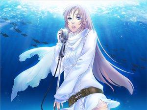 Rating: Safe Score: 20 Tags: animal blue_eyes fish long_hair megurine_luka microphone pink_hair scarf underwater vocaloid water User: HawthorneKitty