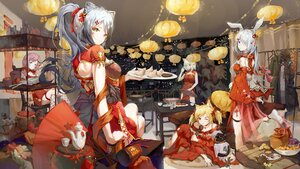 Rating: Safe Score: 54 Tags: animal_ears arknights blonde_hair blue_poison_(arknights) bodhi_wushushenghua bunny_ears chinese_clothes chinese_dress doctor_(arknights) dress food frostnova_(arknights) gray_hair group kal'tsit_(arknights) long_hair male ponytail red_eyes schwarz_(arknights) sora_(arknights) twintails wink yellow_eyes User: BattlequeenYume
