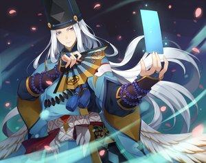 Rating: Safe Score: 22 Tags: abe_no_seimei_(onmyouji) all_male aqua_eyes fan gray_hair hat long_hair male ng_(chaoschyan) onmyouji petals User: RyuZU