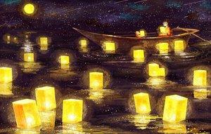 Rating: Safe Score: 115 Tags: boat japanese_clothes moon nomiya_(no_38) original stars teddy_bear water User: FormX
