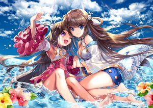 Rating: Safe Score: 45 Tags: 2girls anthropomorphism blue_oath chinese_clothes chinese_dress clouds cu-rim dress flowers long_hair ning_hai_(blue_oath) ping_hai_(blue_oath) sky water wink User: BattlequeenYume