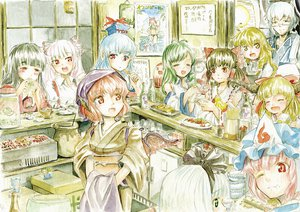 Rating: Safe Score: 40 Tags: animal_ears bikini black_hair blue_hair bow brown_hair cirno daiyousei food fujiwara_no_mokou glasses gray_hair hakurei_reimu hat hidamari_sketch houraisan_kaguya ibuki_suika japanese_clothes jinrui_wa_suitai_shimashita kaenbyou_rin kamishirasawa_keine kirisame_marisa kochiya_sanae konpaku_youmu morichika_rinnosuke mystia_lorelei pink_hair red_eyes red_hair saigyouji_yuyuko sake short_hair swimsuit touhou User: w7382001