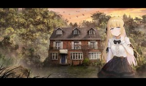 Rating: Safe Score: 34 Tags: akky_(akimi1127) animal bird blonde_hair blue_eyes bow building clouds forest lolita_fashion long_hair original ribbons scenic skirt sky sunset tree User: otaku_emmy