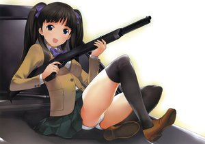 Rating: Questionable Score: 67 Tags: brown_hair initial-g school_uniform twintails underwear weapon User: gnarf1975