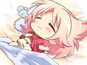 Rating: Safe Score: 24 Tags: 77 amane_ruru chibi game_cg komowata_haruka pink_hair sleeping whirlpool User: Wiresetc
