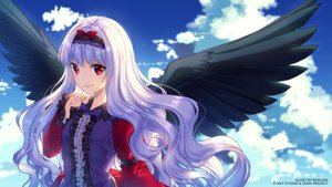 Rating: Safe Score: 36 Tags: clouds headband long_hair red_eyes rosuuri sky watermark white_hair wings User: luckyluna
