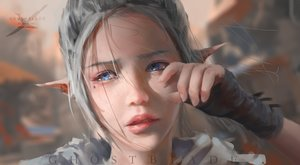 Rating: Safe Score: 220 Tags: blue_eyes close crying ghostblade gloves gray_hair original pointed_ears realistic tears watermark wlop User: Flandre93