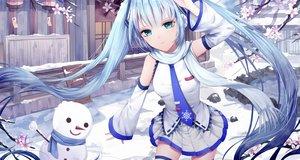 Rating: Safe Score: 16 Tags: aliasing aqua_eyes aqua_hair hatsune_miku long_hair saikou-iro_aurora scarf skirt snow tie twintails vocaloid winter yuki_miku User: luckyluna
