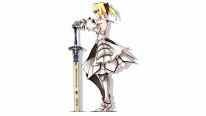 Rating: Safe Score: 73 Tags: armor blonde_hair bow fate_(series) fate/unlimited_codes gloves green_eyes ina_(gokihoihoi) long_hair ponytail saber saber_lily sideboob sword weapon white User: Hakha