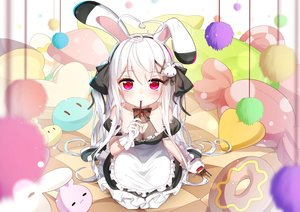 Rating: Safe Score: 151 Tags: animal_ears apron bai_yemeng bed breasts bunny_ears cleavage food gloves long_hair maid niliu_chahui original pocky red_eyes tokisaki_mio twintails white_hair User: BattlequeenYume