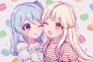 Rating: Safe Score: 34 Tags: 2girls bang_dream! blonde_hair blue_hair blush close long_hair matsubara_kanon poyo_(shwjdddms249) purple_eyes tsurumaki_kokoro wink yellow_eyes User: otaku_emmy