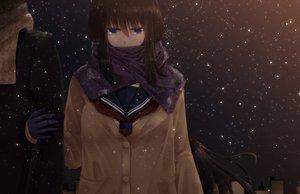 Rating: Safe Score: 151 Tags: black_hair blue_eyes blush karube long_hair night original scarf seifuku sky snow stars User: PAIIS