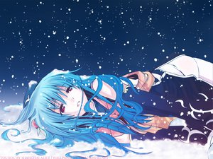 Rating: Safe Score: 60 Tags: blue_hair chinese_dress eretto hat hinanawi_tenshi long_hair night red_eyes snow thighhighs touhou User: himawariyamato