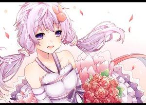 Rating: Safe Score: 76 Tags: blush bow flowers long_hair omuretsu petals purple_eyes purple_hair twintails vocaloid voiceroid waifu2x yuzuki_yukari User: luckyluna