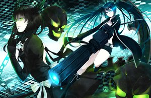Rating: Safe Score: 101 Tags: black_hair black_rock_shooter blue_eyes bow dress green_eyes gun horns katana kuroi_mato long_hair sword takanashi_yomi tooaya weapon wings User: Maboroshi