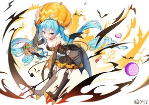 Rating: Safe Score: 67 Tags: animal aqua_hair bai_yemeng bat boots bow breasts candy choker cleavage dress elbow_gloves gloves halloween hatsune_miku heart long_hair pumpkin red_eyes signed spear twintails vocaloid weapon wings User: RyuZU