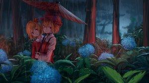 Rating: Safe Score: 27 Tags: 2girls aki_minoriko aki_shizuha dark dress flowers forest hat orange_hair rain red_eyes roke_(taikodon) short_hair touhou tree umbrella water User: BattlequeenYume