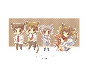 Rating: Safe Score: 28 Tags: animal_ears asahina_mikuru catboy catgirl chibi group koizumi_itsuki kyon male nagato_yuki school_uniform suzumiya_haruhi suzumiya_haruhi_no_yuutsu User: Oyashiro-sama