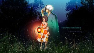 Rating: Safe Score: 64 Tags: blue_eyes brown_hair dress gin grass hotarubi_no_mori_e kuzakawe_maron male mask night stars summer_dress takegawa_hotaru tree watermark white_hair User: gnarf1975