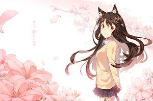 Rating: Safe Score: 104 Tags: animal_ears brown_hair catgirl cherry_blossoms flowers kimura_(ykimu) long_hair original red_eyes school_uniform tail User: SciFi