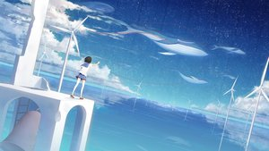 Rating: Safe Score: 62 Tags: animal bell black_hair clouds fish ji_dao_ji original reflection scenic school_uniform short_hair sky stars thighhighs water windmill User: FormX