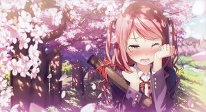 Rating: Safe Score: 171 Tags: blush bow cherry_blossoms crying kantoku kurumi_(kantoku) long_hair original petals pink_eyes pink_hair scan seifuku tears tree User: RyuZU