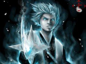 Rating: Safe Score: 23 Tags: all_male bleach gray_hair hitsugaya_toushirou male sword weapon User: Tensa