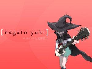 Rating: Safe Score: 101 Tags: bow cape gray_hair guitar hat instrument kneehighs nagato_yuki red school_uniform short_hair suzumiya_haruhi_no_yuutsu witch User: Oyashiro-sama
