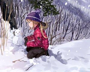 Rating: Safe Score: 73 Tags: blonde_hair blush brown_eyes gloves hat original ponytail snow snowman tan_(tangent) tree winter User: RyuZU