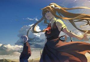 Rating: Safe Score: 63 Tags: air blonde_hair blue_eyes clouds hanno jpeg_artifacts kamio_misuzu kunisaki_yukito long_hair male ponytail school_uniform sky User: Flandre93
