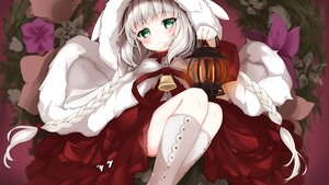Rating: Safe Score: 36 Tags: bell blush boots braids cape cure_nashi flowers gray_hair green_eyes hoodie kneehighs .live lolita_fashion long_hair merry_milk ribbons twintails User: otaku_emmy