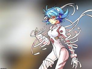 Rating: Safe Score: 14 Tags: ayanami_rei bandage blue_hair bodysuit gainax neon_genesis_evangelion red_eyes skintight User: Oyashiro-sama