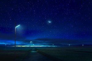Rating: Safe Score: 45 Tags: clouds landscape mks moon night nobody original scenic sky stars User: RyuZU