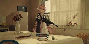 Rating: Safe Score: 65 Tags: apron chihuri405 flowers food gloves gun long_hair maid original pink_hair rose weapon User: RyuZU