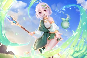 Rating: Safe Score: 91 Tags: blush chao_wu_xing_xian clouds flowers natsume_kokoro pointed_ears princess_connect! purple_eyes short_hair sky staff white_hair User: BattlequeenYume