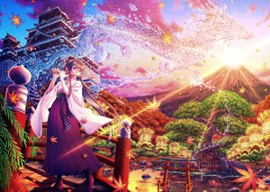 Rating: Safe Score: 37 Tags: autumn boots brown_hair building clouds dragon flute instrument japanese_clothes leaves long_hair magic orange_eyes original ponytail sky sunset tagme_(artist) torii tree water User: luckyluna