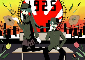 Rating: Safe Score: 15 Tags: 1925_(vocaloid) flowers green_hair hat hatsune_miku kaito long_hair short_hair skirt twintails vocaloid User: w7382001