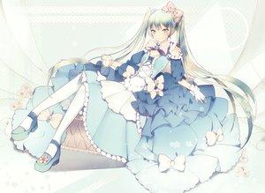 Rating: Safe Score: 126 Tags: aqua_eyes aqua_hair bow dress flowers hatsune_miku lolita_fashion lpip twintails vocaloid waifu2x white User: FormX
