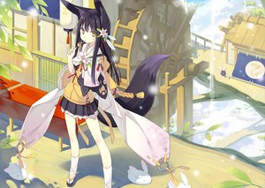 Rating: Safe Score: 257 Tags: animal_ears flowers foxgirl japanese_clothes original poco tail yellow_eyes User: opai