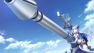 Rating: Safe Score: 37 Tags: aqua_eyes clouds crown front_wing fumio game_cg gun hatsuru_koto_naki_mirai_yori horns long_hair navel sky thighhighs weapon white_hair yukikaze_geneblood User: mattiasc02