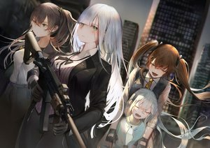 Rating: Safe Score: 44 Tags: anthropomorphism g11_(girls_frontline) girls_frontline group gun hk416_(girls_frontline) isaka_wasabi loli ump-45_(girls_frontline) ump-9_(girls_frontline) weapon User: BattlequeenYume