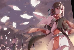 Rating: Safe Score: 51 Tags: aliasing braids clouds dress garter_belt gloves headphones long_hair luo_tianyi night paper ponytail purple_hair red_eyes scarf sky stars tagme_(artist) twintails vocaloid vocaloid_china yuezheng_ling User: luckyluna